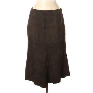 Lafayette 148 New York Brown Leather Skirt